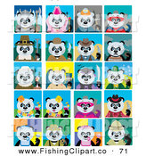 Clip Art of a Giant Panda Bears in Multiple Costumes and Poses on Tiled Backgrounds by Dennis Holmes Designs