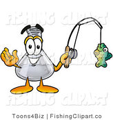 Clip Art of a Glass Erlenmeyer Conical Laboratory Flask Beaker Mascot Cartoon Character Holding a Fish on a Fishing Pole by Toons4Biz