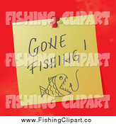 Clip Art of a Gone Fishing Message on a Pinned Note by MilsiArt