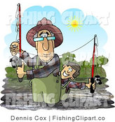 Clip Art of a Grandfather and Grandson River Fishing on a Sunny Day by Djart