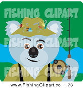 Clip Art of a Gray Koala Bear Fishing Character by Dennis Holmes Designs
