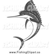 Clip Art of a Grayscale Marlin Fish Jumping by Vector Tradition SM