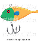 Clip Art of a Green and Yellow Fishing Lure with a Hook by Graphics RF