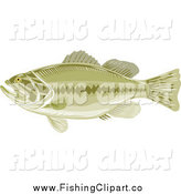 Clip Art of a Green Largemouth Bass Fish in Profile by Patrimonio