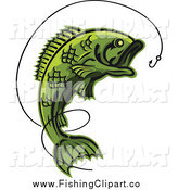 Clip Art of a Green Leaping Fish and Line with a Hook by Vector Tradition SM