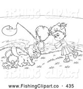 Clip Art of a Greyscale Coloring Page Outline of Children and a Cat Fishing by Alex Bannykh
