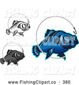 Clip Art of a Group of Fish and Fisherman Hooks Digital Collage by Vector Tradition SM
