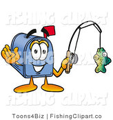 Clip Art of a Happy Blue Postal Mailbox Cartoon Character Holding a Fish on a Fishing Pole by Toons4Biz