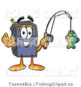 Clip Art of a Happy Blue Suitcase Cartoon Character Holding a Fish on a Fishing Pole by Toons4Biz