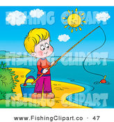Clip Art of a Happy Boy Fishing on the Shore of a Still Lake on a Sunny Day by Alex Bannykh
