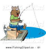 Clip Art of a Happy Brown Fishing Wombat by Dennis Holmes Designs