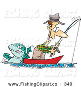 Clip Art of a Happy Cartoon Fish Tugging on a Man by Toonaday