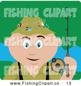 Clip Art of a Happy Caucasian Man Fishing and Holding His Pole by Dennis Holmes Designs