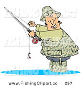 Clip Art of a Happy Fisherman Dressed in Camouflage Gear, Wading in Water and Holding His Fishing Pool While SmilingHappy Fisherman Dressed in Camouflage Gear, Wading in Water and Holding His Fishing Pool While Smiling by Djart