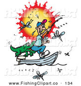 Clip Art of a Happy Fishing Man Getting Bit in the Butt by a Crocodile, Surrounded by Mosquitoes by Dennis Holmes Designs