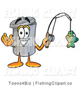 Clip Art of a Happy Garbage Can Mascot Cartoon Character Holding a Fish on a Fishing Pole by Toons4Biz