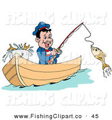 Clip Art of a Happy Greek Fisherman in a Boat, Reeling in a Fish on a Hook in the Ocean by LaffToon