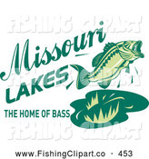 Clip Art of a Happy Green Missouri Lakes the Home of Bass Text with a Fish by Patrimonio