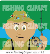 Clip Art of a Happy Latin American Man Fishing and Holding His Pole by Dennis Holmes Designs