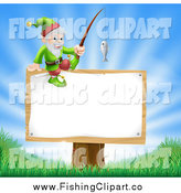 Clip Art of a Happy Male Gnome with a Fishing Pole on a Sign by AtStockIllustration