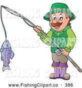Clip Art of a Happy Man Holding His Catch on a Fishing Pole by Visekart