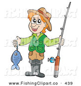 Clip Art of a Happy Man Holding His Caught Fish and Rod by Visekart
