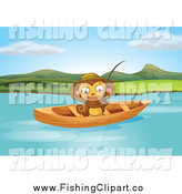 Clip Art of a Happy Monkey Fishing from a Boat by Graphics RF