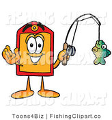 Clip Art of a Happy Price Tag Mascot Cartoon Character Holding a Fish on a Fishing Pole by Toons4Biz