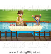 Clip Art of a Happy White Father and Son Catching a Fish by Colematt