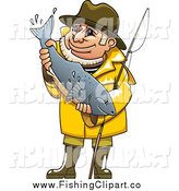 Clip Art of a Happy White Fisherman Holding a Fish by Vector Tradition SM