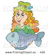 Clip Art of a Happy Woman Holding Her Smiling Caught Fish by Visekart