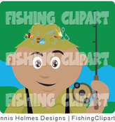 Clip Art of a Hispanic Fisherman by Dennis Holmes Designs
