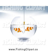 Clip Art of a Hook in a Bowl with Two Clownfish by