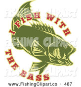 Clip Art of a I Fish with the Bass Text Around a Green Fish by Patrimonio