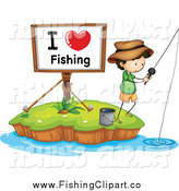 Clip Art of a I Love Fishing Sign and a White Boy on an Island by Colematt
