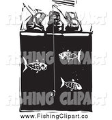 Clip Art of a Inuit Eskimos Ice Fishing Black and White by Xunantunich