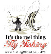Clip Art of a Its the Reel Thing Fly Fishing Text Around a Fly Fisherman over White by Patrimonio