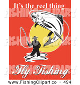 Clip Art of a Its the Reel Thing Fly Fishing Text Around a Man Fly Fishing over Red by Patrimonio