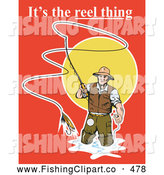 Clip Art of a Its the Reel Thing Text over a Fly Fisherman on a Red Sunset by Patrimonio