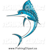 Clip Art of a Jumping Blue Marlin by Seamartini Graphics