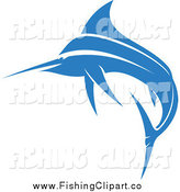 Clip Art of a Jumping Blue Marlin Fish by Vector Tradition SM