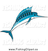 Clip Art of a Jumping Blue Marlin Fish Smiling by Vector Tradition SM