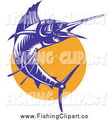 Clip Art of a Jumping Blue Sailfish over an Orange Circle by Patrimonio