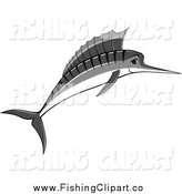 Clip Art of a Jumping Grayscale Marlin by Seamartini Graphics