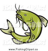 Clip Art of a Jumping Green Cartoon Catfish by Patrimonio