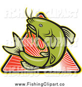 Clip Art of a Jumping Green Catfish over a Triangle of Sunshine by Patrimonio
