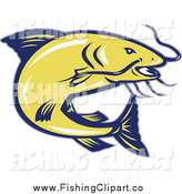 Clip Art of a Jumping Yellow and Blue Catfish by Patrimonio