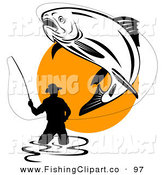 Clip Art of a Large Fish Leaping into the Air While Being Reeled in by a Wading Fisherman by Patrimonio