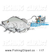 Clip Art of a Large Gray Barramundi Fish Pulling a Man in a Boat by Dennis Holmes Designs