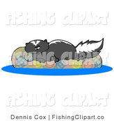 Clip Art of a Lazy Black Skunk Relaxing on a Floaty in a Swimming Pool by Djart